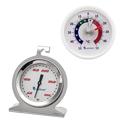 Acero inoxidable horno - horno y termómetro de plástico universal. termómetro de horno hasta 300 ° c y termómetro adhesivo + / - 50 ° c analógico y bimetálico