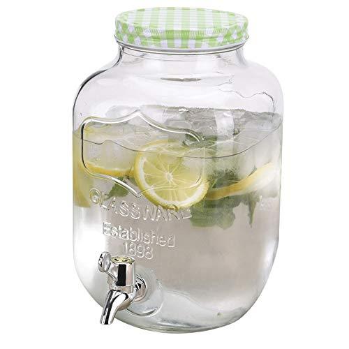 Getränkespender aus Glas 4L Getränkeportionierer Dispenser Saft Wasser Cocktail, Farbe:grün