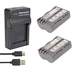 Newmowa® Remplacement Batterie en-EL3 (2) et Chargeur Micro USB Portable Kit pour Nikon en-EL3 Nikon EN-EL3e et Nikon D50, D70, D70s, D80, D90, D100, D200, D300, D300S, D700 (2 Batteries+1 Charger)