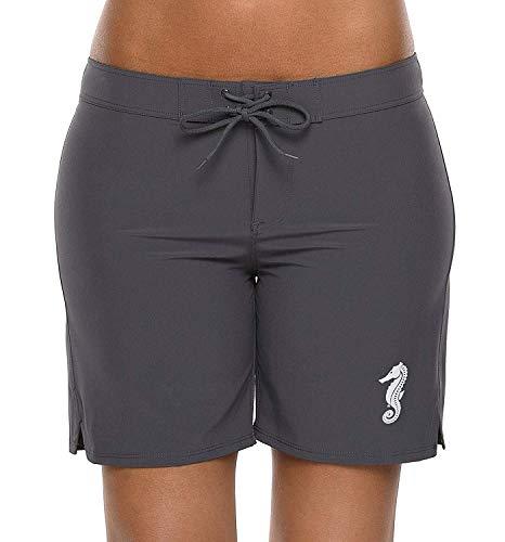 Anwell Damen Badebekleidung Badeanzug Schwimmshorts mit Waistband Seepferdchen Muster Bauchweg Grau XXL -