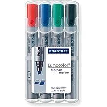 Staedtler 356 B WP4 Flipchart-Marker Lumocolor , nachfüllbar, Staedtler Box mit 4 Farben