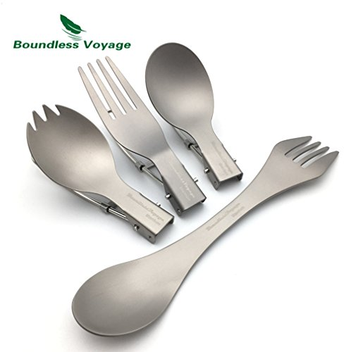 Folding Titanium Spork Titanium Spoon Dinnerware Ultralight
