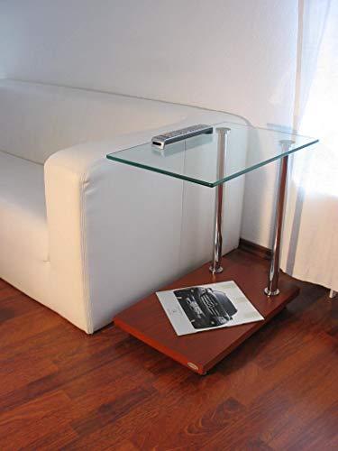 Carl Svensson Design Beistelltisch Ecktisch V-270 Kirschbaum Glas - Kirsche Wohnzimmer Beistelltisch