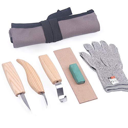 5pcs Set di strumenti per intaglio del legno con 3 coltelli a uncino Sloyd dettaglio + cera per lucidatura + cuoio per affilare + borsa di tela per principianti e scultori professionisti