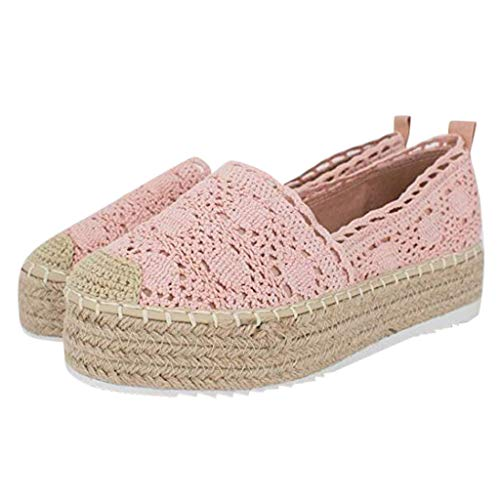 COZOCO Women's Hollow Platform Casual Shoes Solid Color Breathable Wedge Espadrilles Cover Heel Shoes(A-Pink,38 EU)
