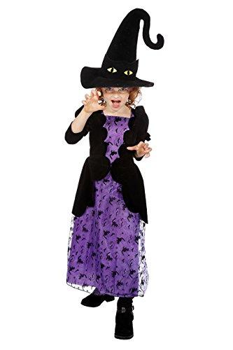Jannes - Kinder Hexen Kostüm Schwarz Lila mit Hut ()