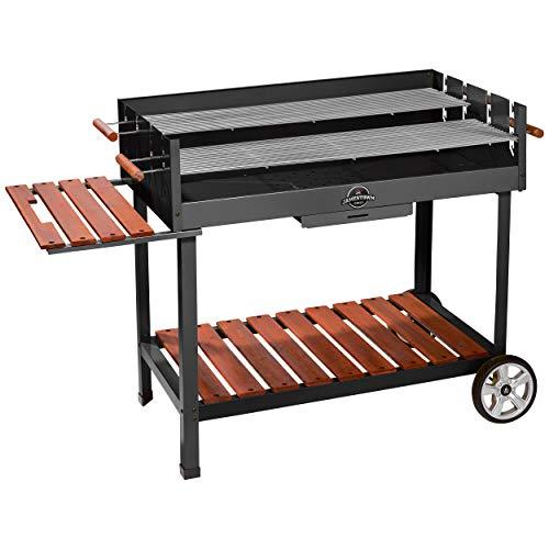 Jamestown Ben XL Holzkohle-Grillwagen mit Windschutz und Ascheschublade inkl. zweigeteiltem, höhenverstellbarem Grillrost | Hochwertiger Grill für EIN Barbecue in großer Runde