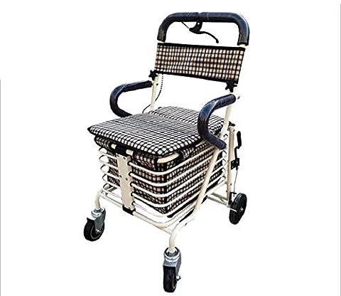 Aide à la marche rabattable Alloy Alloy Elderly Shopping Cart