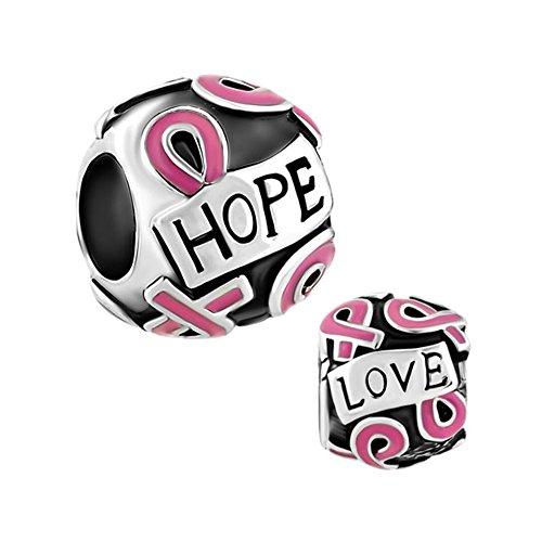 Sug Jasmin Brustkrebs Charm Pink Ribbon Hoffnung Perlen für Charm Armbänder