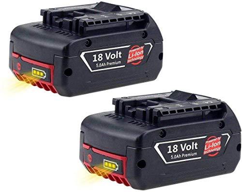 2X Reoben 18V 5.0Ah Li-Ion Ersatz-Akku für Bosch BAT620 BAT620 BAT622 BAT609 BAT618 DDB181-02
