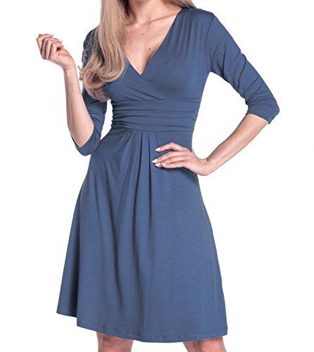 Glamour Empire Damen Kleid Tiefer V-Ausschnitt Sommerkleid Cocktailkleid 282 Blau Grau