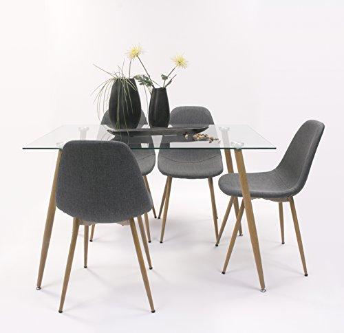Conjunto Comedor Cairo Mesa Cristal 120x80 + 4 sillas