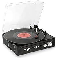 1byone tocadiscos estéreo de correa de 3 velocidades con altavoces incorporados, graba de vinilo a MP3, reproducción MP3 por USB, conector para auriculares estéreo, control de tono y salida RCA, negro