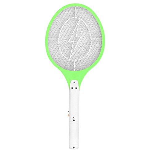 Foto de Gosear Recargable Exterminador eléctrico de insectos raqueta, Raqueta mosquitos moscas bug zapper, matamoscas electrico (UE Enchufe, Verde)