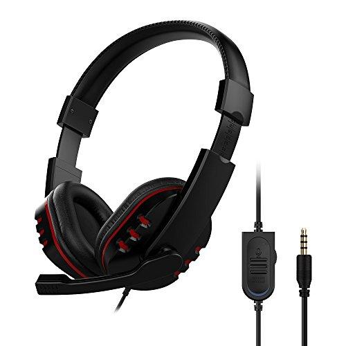 LESHP Gaming Headset – Cascos auriculares Stereo con micrófono para PC (ultrabass, cancelación ruido, diadema acolchada y ajustable, micrófono plegable, ergonómico, control de volumen, jack simple 3.5 mm) para Sony PS4 pc tablet portátil Smartphone Xbox One