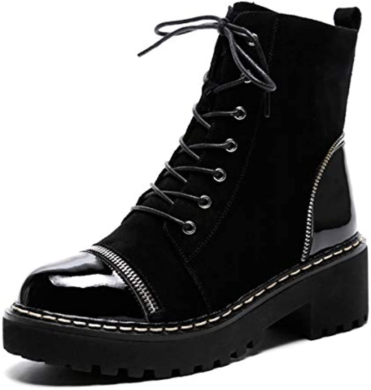 DANDANJIE Talon Femmes Martin Boots Hiver Bottes De Marche Bas Talon DANDANJIE Dames en Cuir Anti-Dérapante Bottines pour l'hiverB07KJHZP7ZParent 1f5e8a