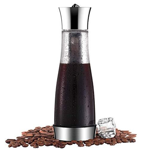 Kalten Brew Iced Kaffeemaschine und Tee-Ei mit Auslauf, Glaswasser Pitcher Tee Kaffeemaschine Wein Flaschen Saft Glas mit Ineinander Greifen Filter, lecksichere Dichtung Wasser Karaffe, 1.0 L/35 OZ -
