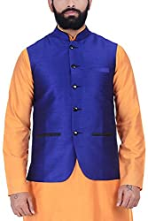 Kisah Dupion Silk Royal Blue Mens Nehru Jacket