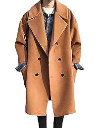 4a7a31440e12 Seemannsjacke Herren Zweireiher Lange Mantel PEA Coat Dick Einfacher Stil Wolle  Mischung Tweed Jacke Cabanjacke Trench