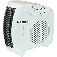 Netagon Schallen White Small Quiet Portable Flat & Upright 2Kw 2000W Electric Fan Heater with 2 Heat Settings and Cool Air Setting…