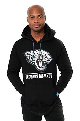 Icer Brands NFL Herren Fleece-Pullover Hoodie Sweatshirt Gesticktes Team-Logo, Jacksonville Jaguars L/S Pullover Applique Hoodie, schwarz Fleece-jersey Sweatshirt