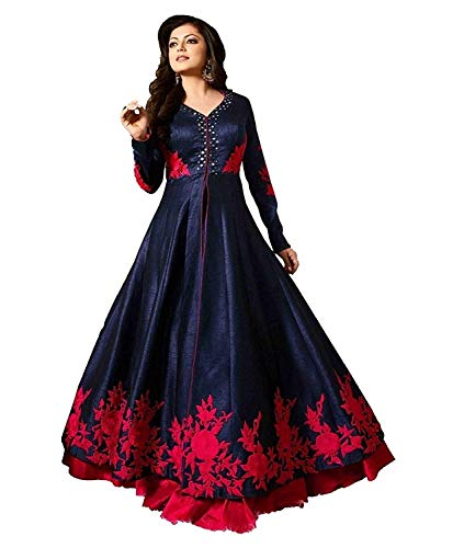 Drashti villa Women\'s Women\'s Silk Embroidered Anarkali Semi-Stitched Gown with Duptta (FREE SIZE)