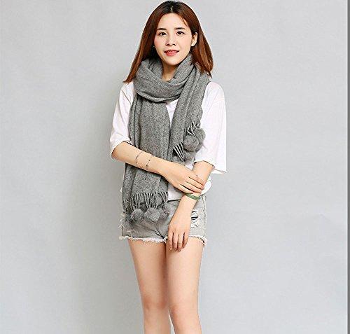Echarpe Laine Automne Et D'hiver Foulards Féminins Mignons Colliers De Couverture De Mode,Lightgray gray