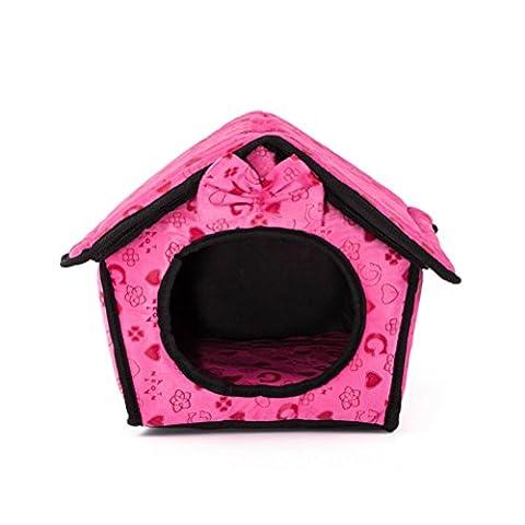 UEETEK Haustier haus Hunde Höhle tragbare Warm Nest für Hund Katze Welpen Kaninchen Haustiere (Rose Rot)