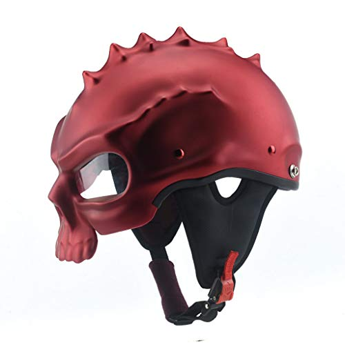 Preisvergleich Produktbild JIE KE Helm Männer Und Frauen Elektrische Motorrad Lokomotive Doppelseitige Straße Auto Schädel Helm Persönlichkeit Coole Helm Half Helm Doppelseitige Kann Coole Mode Mitbringen (Farbe : Red)
