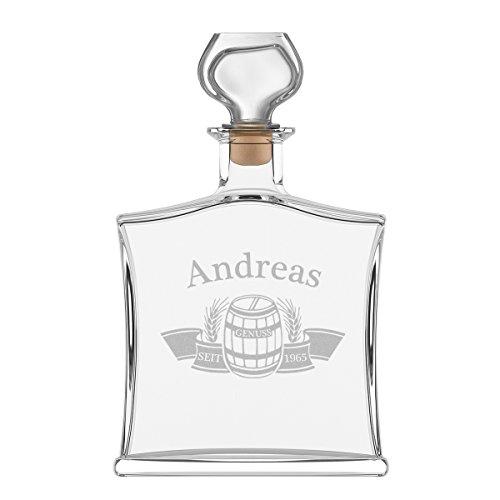 polar-effekt Personalisierte Edle Whiskyflasche mit Gravur - 700 ml Dekanter mit Glass Verschluss - Whisky-Karaffe Geschenk zum Geburtstag - Motiv Fass im Banner