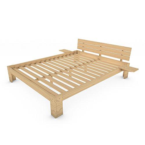 MSS® Doppelbett Duo 200x160 cm Kiefer lackiert + VitalFoam H2+ H3 aus Massivholz mit Lattenrost und Nachttischablage