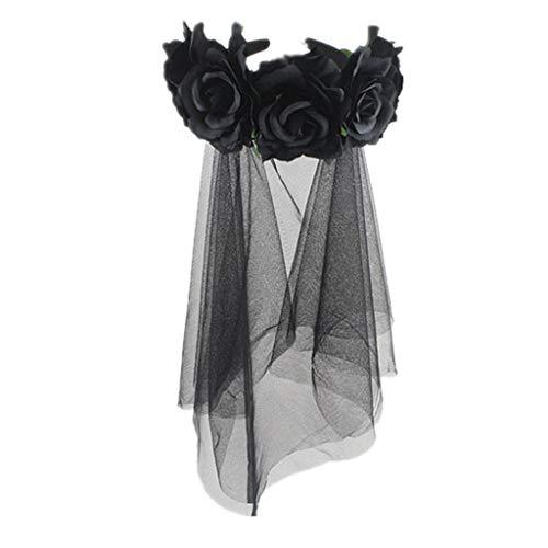 planuuik Womens Halloween Wreath Stirnband handgefertigten Stoff Rose Blume mit schwarzem Netz Schleier Tüll Crown Festival Tag der Toten Haarband