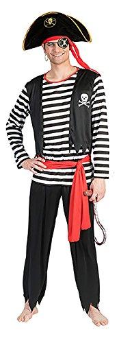 chamboolee - Gestreiftes Südsee Pirat Kostüm für Herren Männer, XL, (Südsee Piraten Kostüme)