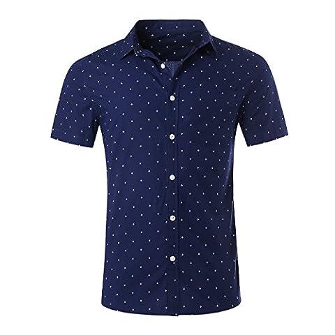 Herren Kurzarm Slim Fit Freizeithemd Fashion Retro Short Sleeve T-Shirts