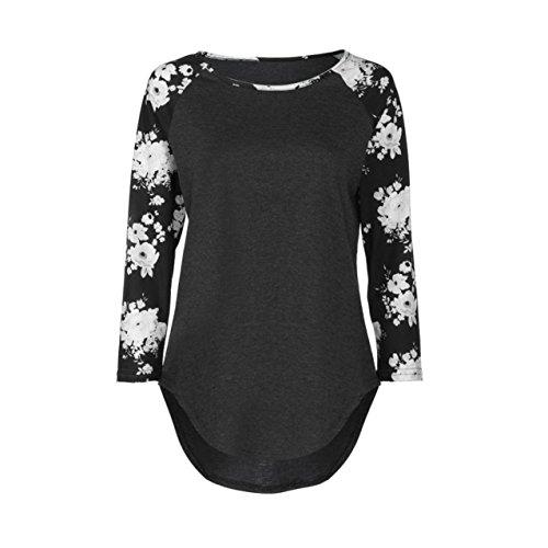 LHWY Damen Print Long Sleeve Loose Bluse Casual Shirt Summer Tops t-shirt Schwarz