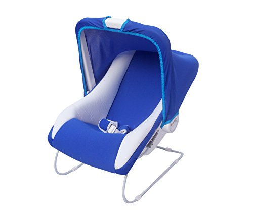 Ehomekart Kid's Blue Carry Cot Cum Bouncer - 11 In 1 With Bottle Holder - Feeding Chair, Baby Chair, Rocker, Bath TUB, Carrying, Bouncer & Baby Swing