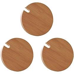BESTONZON 3pcs tapas de madera tapa de la taza de madera tarro de cristal de madera taza de la bebida tapa con agujero de la cuchara