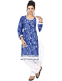 INDIAN FAIR LADY Printed Blue & White Color Stitched Cotton Suit Set For Women