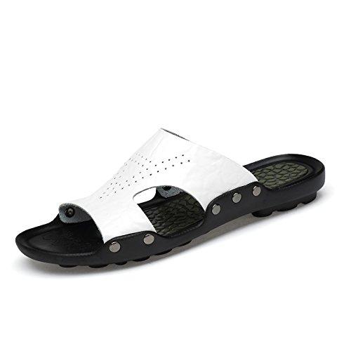 Xing Lin Sandales Pour Hommes Chaussures D'Hommes De L'Été Nouveau Slipper Antidérapant Pour Hommes Sandales Sandales Tongs Chaussures En Cuir M white