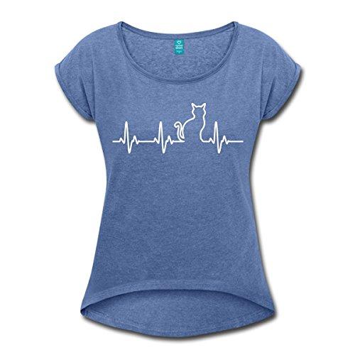 Spreadshirt Katze Silhouette EKG Herzschlag Katzenfan Frauen T-Shirt mit Gerollten Ärmeln, M, Denim Meliert (Katze Denim Shirt)
