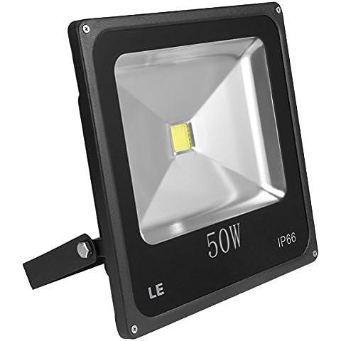 LE Foco proyector LED 50W para exteriores, equivalencia SAP 150W, 3750lm, blanco diurno 6000K, resistente al agua IP66, luz amplia, luz de