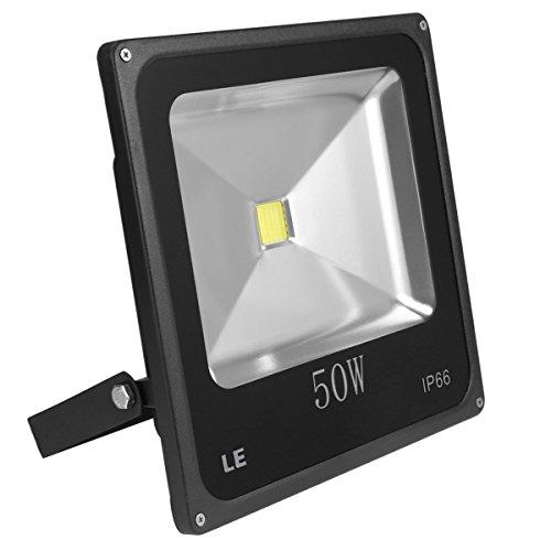 LE Foco proyector LED 50W para exteriores, equivalencia SAP 150W, 3750lm, blanco diurno 6000K, resistente al agua IP66, luz amplia, luz de seguridad