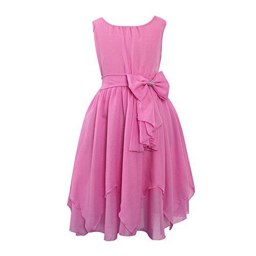 LSERVER Mädchen Sommer Kleid mit 'Schleife'-Deco, Rosa, Gr. 116( Herstellergröße: 120)