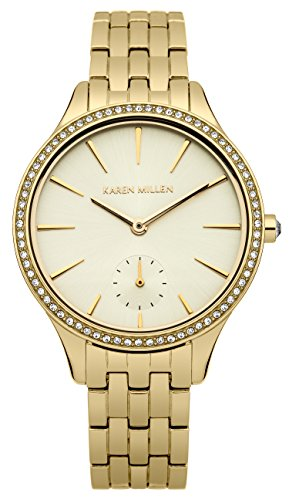 Karen Millen Women's Quartz Watch with Beige Dial Analogue Display and Silver Stainless Steel Bracelet