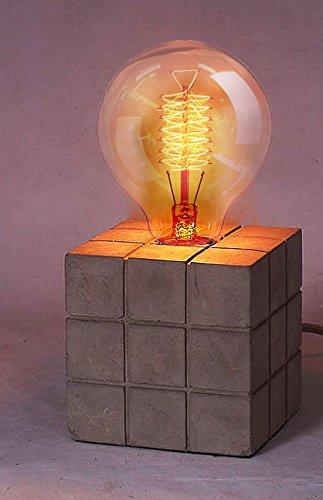 Lampe Stellen Beton–Cube 11,5cm + Glühbirne Globe E27zu Messeraufbewahrung Spiralbindung Vintage 40W 80mm–rubicub & Spiral Globe (Glas-pendelleuchte-lampen-farbtöne)