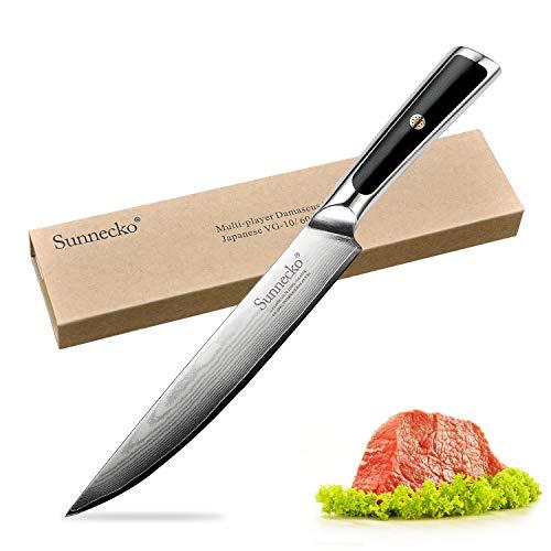 Sunnecko Fleischmesser 20cm - Elite Serie Profi Tranchiermesser Küchenmesser mit Lange Klinge aus Damaststahl Scharfe Ausbeinmesser für Fisch Fleisch