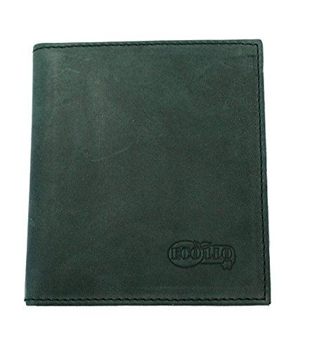 ECOLLO Premium Leder Scheckkartenetui Hülle Box hochwertig in Deutschland gefertigt aus echtem Leder in grün