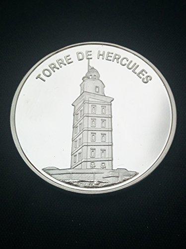 Moneda bañada plata Torre Hercules A Coruña