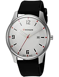Wenger Men's 'City Active' Swiss Quartz Stainless Steel and Silicone Casual Watch, Color:Black (Model: 01.1441.108)