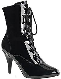 9922d110ae3576 Higher-Heels Pink Label Big Size Booties Stiefel Dream-1020 Lack schwarz  Übergröße